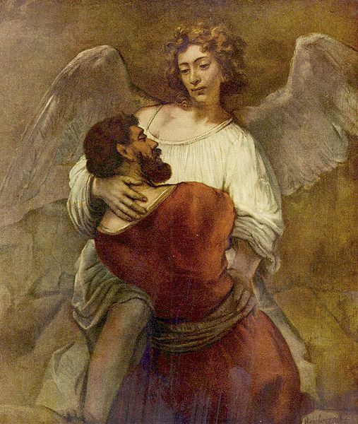 """Rembrandt - Jacob and Angel"" from jimforest on Flickr"